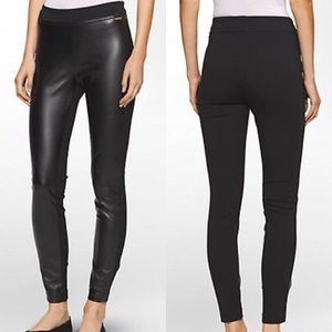 Calvin Klein Faux Leather Front Leggings Sz XS